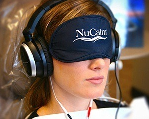 Patient with NuCalm eye mask and headphones